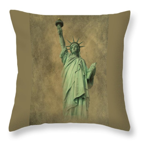 Lady Liberty New York Harbor Throw Pillow by David Dehner
