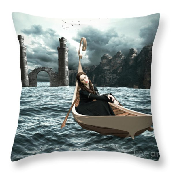 Lady of Llyn-y-Fan Fach Throw Pillow by Linda Lees