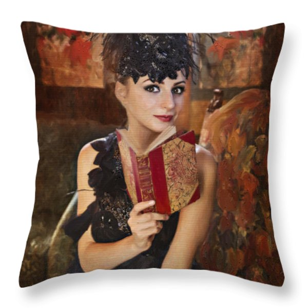 Lady Of Means In Olden Times Throw Pillow by Angela A Stanton