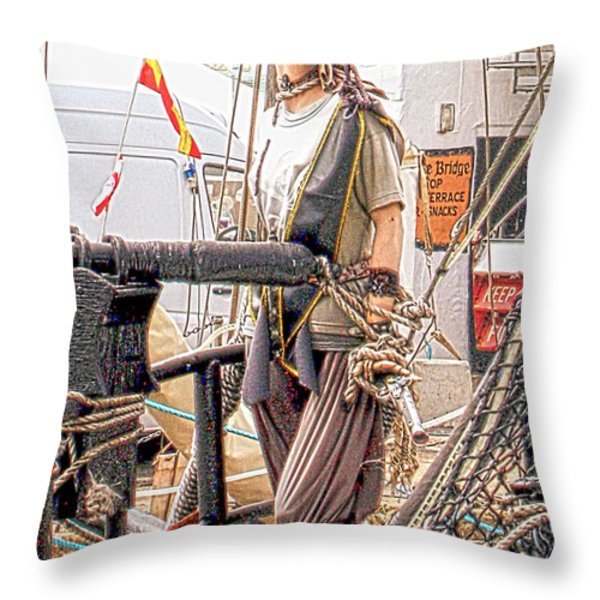 Lady Pirate of Penzance Throw Pillow by Terri  Waters
