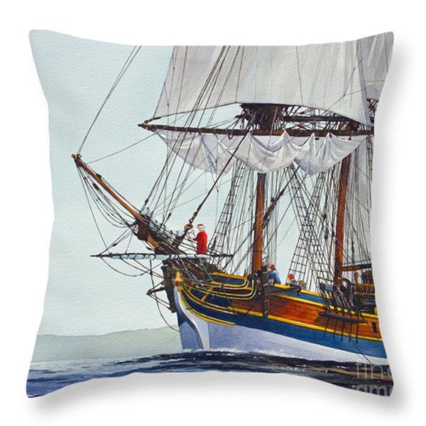 Lady Washington And Captain Gray Throw Pillow by James Williamson