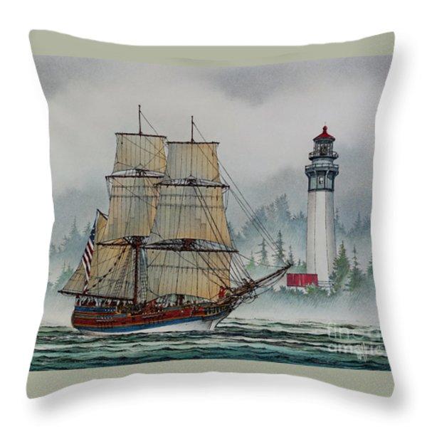 Lady Washington at Grays Harbor Throw Pillow by James Williamson