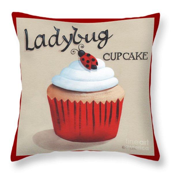 Ladybug Cupcake Throw Pillow by Catherine Holman