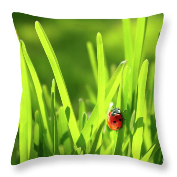 Ladybug In Grass Throw Pillow by Carlos Caetano