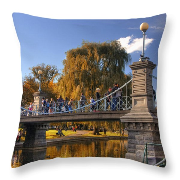 Lagoon Bridge in Autumn Throw Pillow by Joann Vitali
