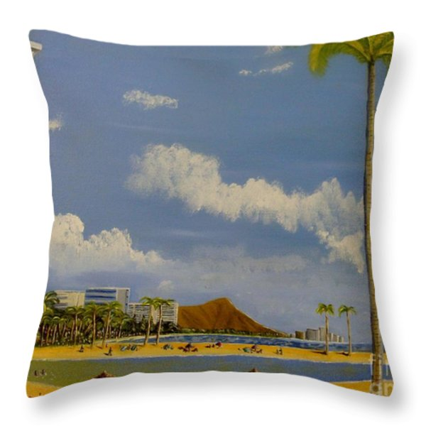 Lagoon On Waikiki Throw Pillow by Scott Phillips