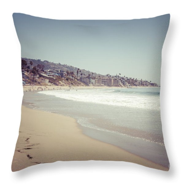 Laguna Beach Retro Picture Throw Pillow by Paul Velgos