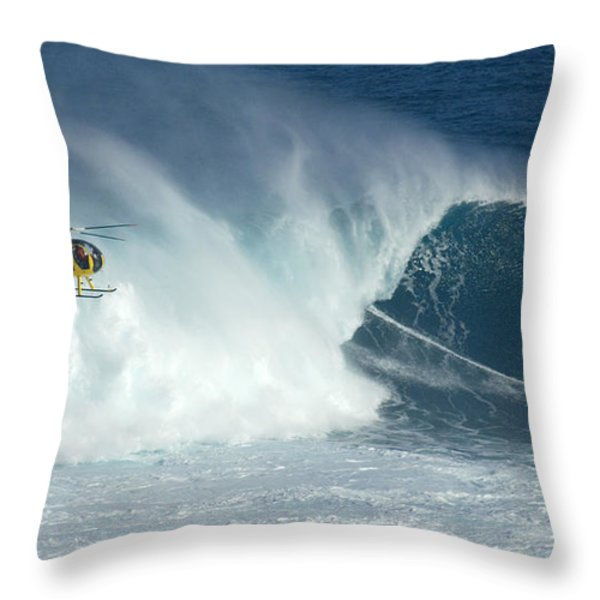 Laird Hamilton Going Left At Jaws Throw Pillow by Bob Christopher