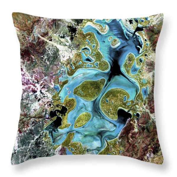 Lake Carnegie Western Australia Throw Pillow by Adam Romanowicz