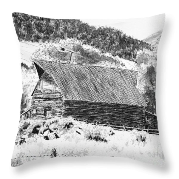 Lake City Barn Throw Pillow by Judy Sprague