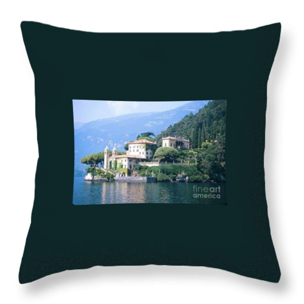 Lake Como Palace Throw Pillow by Greta Corens
