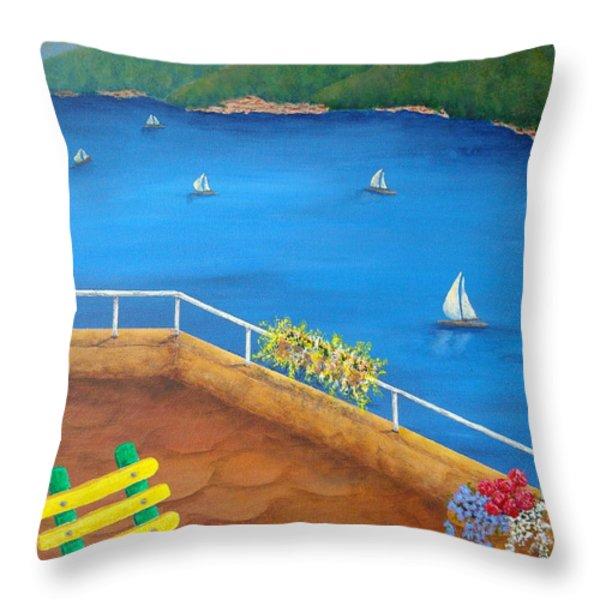 Lake Como Throw Pillow by Pamela Allegretto
