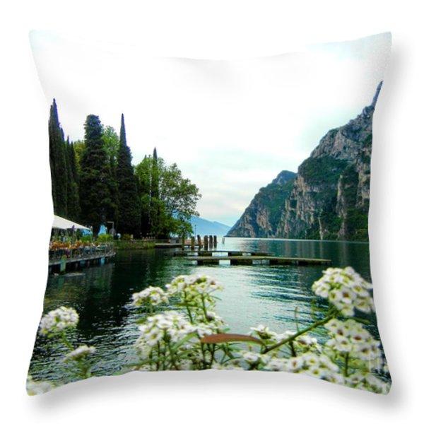 Lake Garda Throw Pillow by Mariola Bitner
