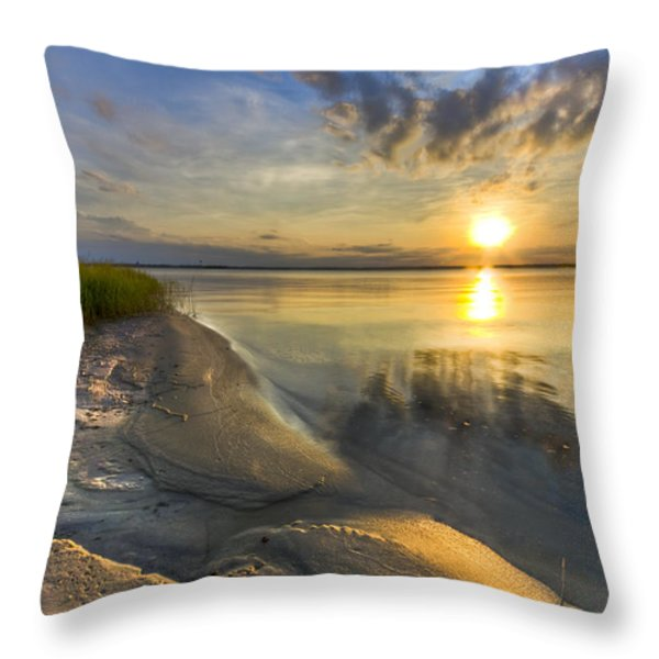 Lake Glow Throw Pillow by Debra and Dave Vanderlaan