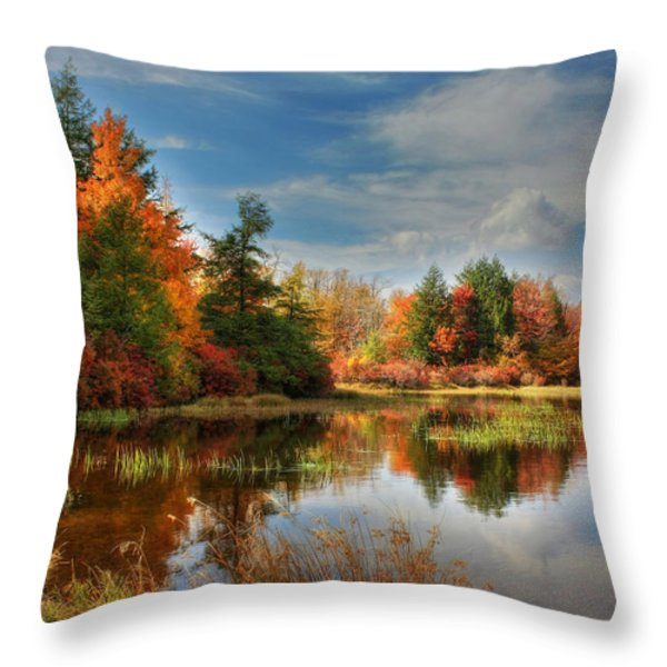Lake Jean Reflections Throw Pillow by Lori Deiter