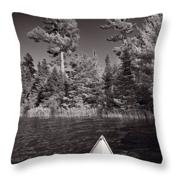 Lake Kayaking Bw Throw Pillow by Steve Gadomski