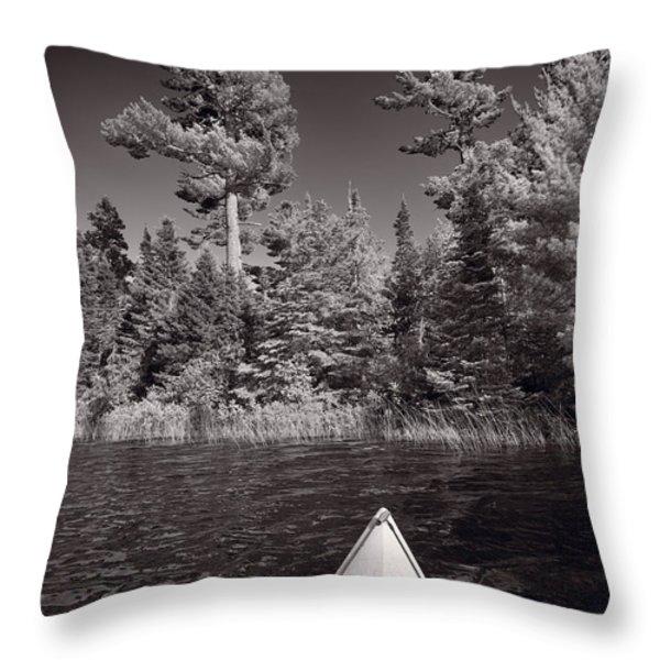 Lake Kayaking BW Throw Pillow by Steve Gadomski