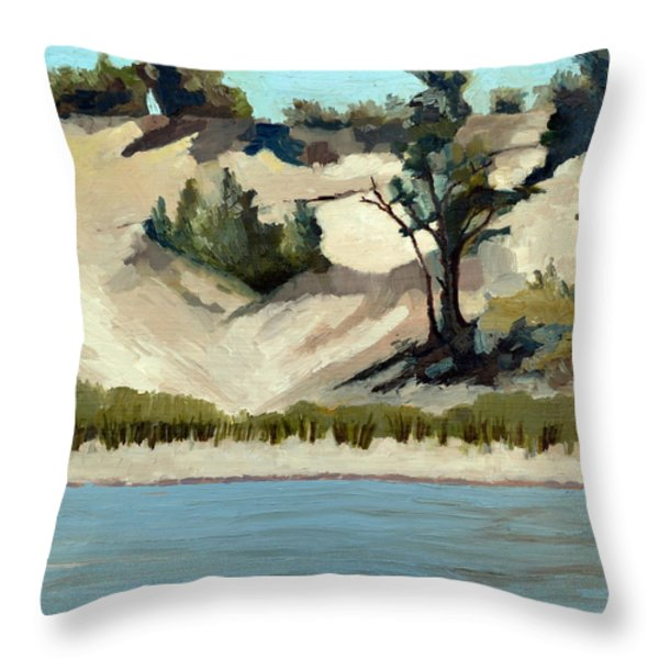 Lake Michigan Dune With Trees And Beach Grass Throw Pillow by Michelle Calkins