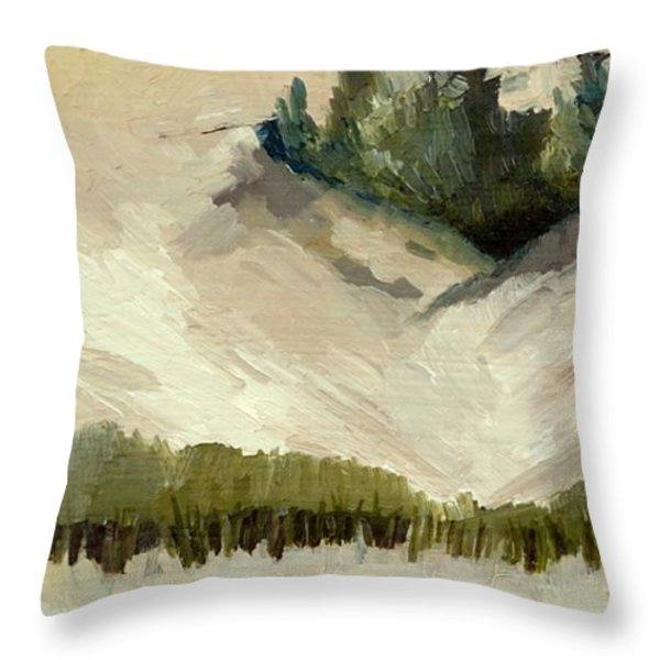 Lake Michigan Dune with Trees Diptych Throw Pillow by Michelle Calkins