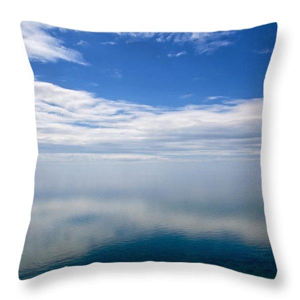 Lake Michigan's Lost Horizon Throw Pillow by Mary Lee Dereske