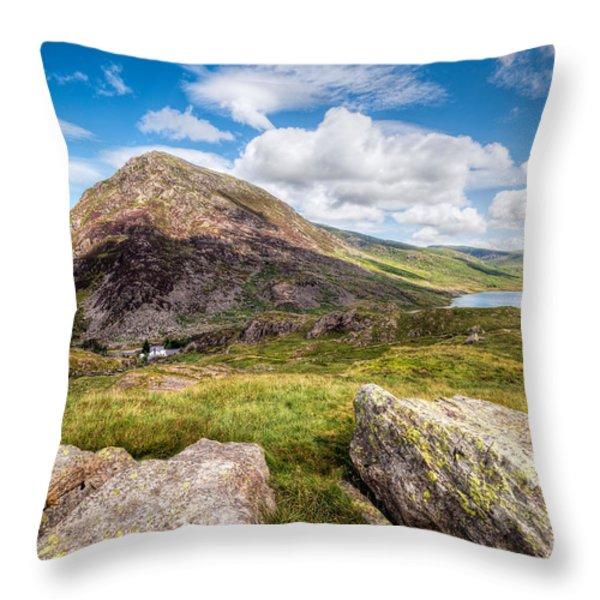Lake Ogwen Throw Pillow by Adrian Evans