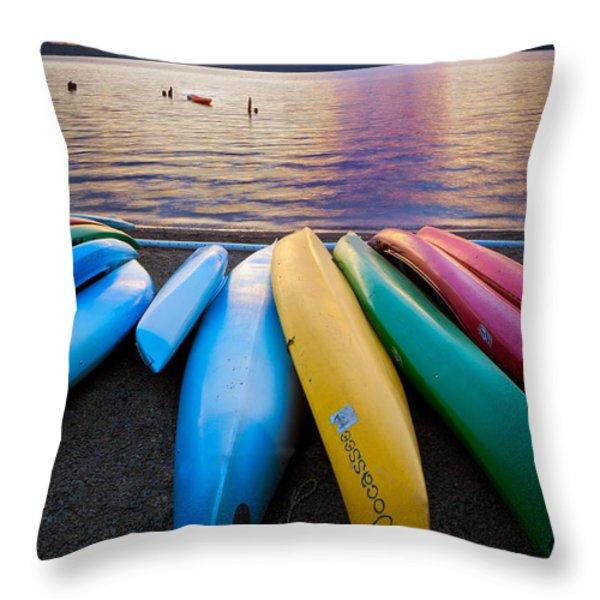 Lake Quinault Kayaks Throw Pillow by Inge Johnsson