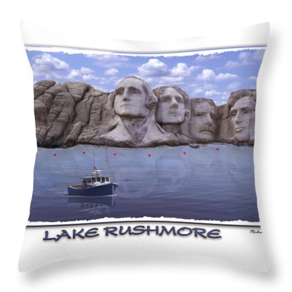 Lake Rushmore Throw Pillow by Mike McGlothlen