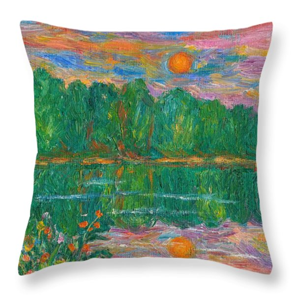 Lake Sunset Throw Pillow by Kendall Kessler