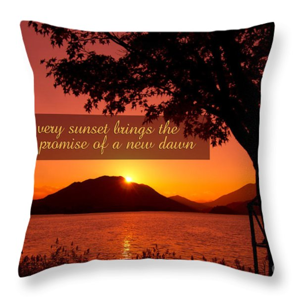 Lake Sunset With Promise Of A New Dawn Throw Pillow by Beverly Claire Kaiya