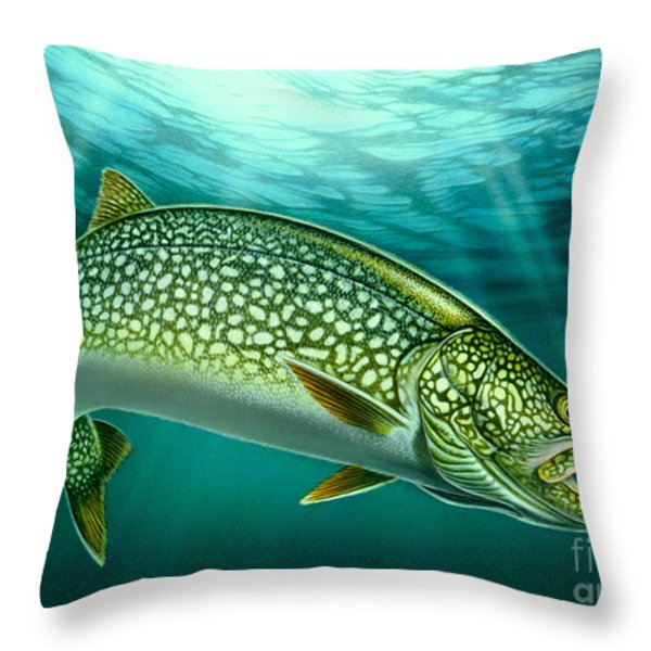 Lake Trout and Spoon Throw Pillow by Jon Q Wright