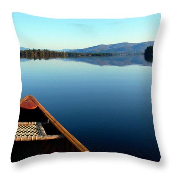 Lake Winnepasaukee Canoe Throw Pillow by Skip Willits