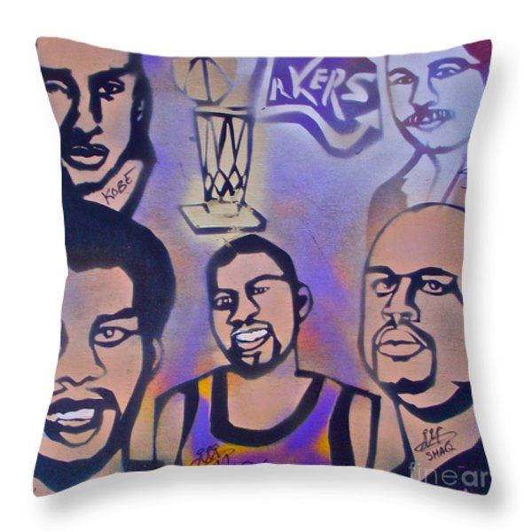 Lakers love Jerry Buss 1 Throw Pillow by TONY B CONSCIOUS
