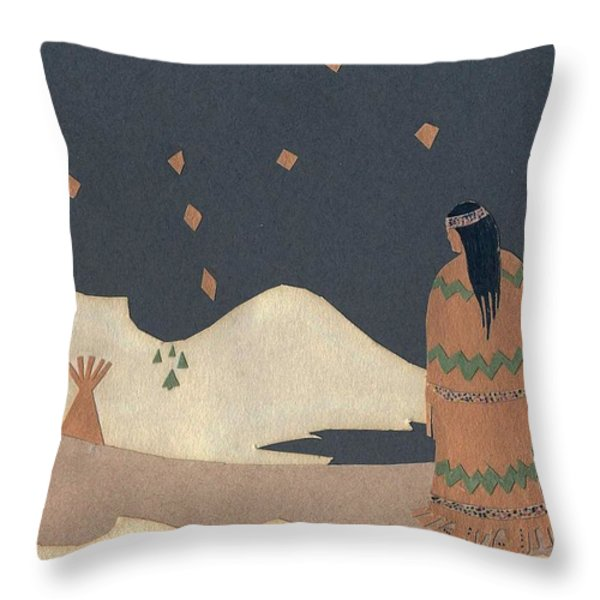 Lakota Woman with Winter Constellations Throw Pillow by Dawn Senior-Trask