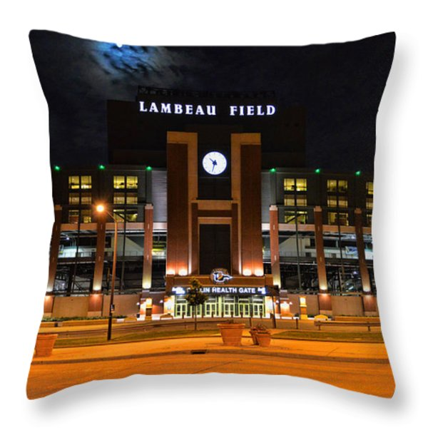 Lambeau Field at Night Throw Pillow by Tommy Anderson