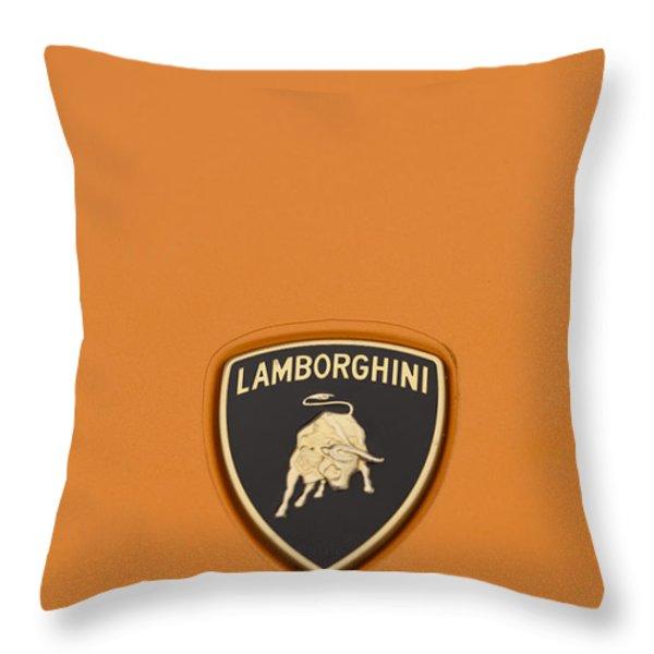 Lambo Hood Ornament Orange Throw Pillow by Scott Campbell