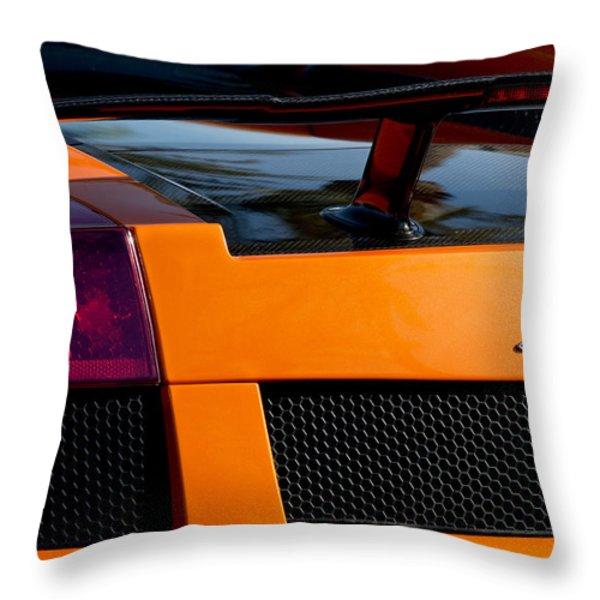 Lamborghini Rear View 2 Throw Pillow by Jill Reger