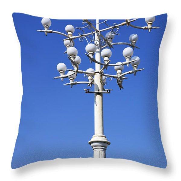 Lamp Post And Flag Georgia Throw Pillow by Robert Preston