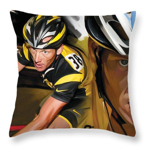 Lance Armstrong Artwork Throw Pillow by Sheraz A