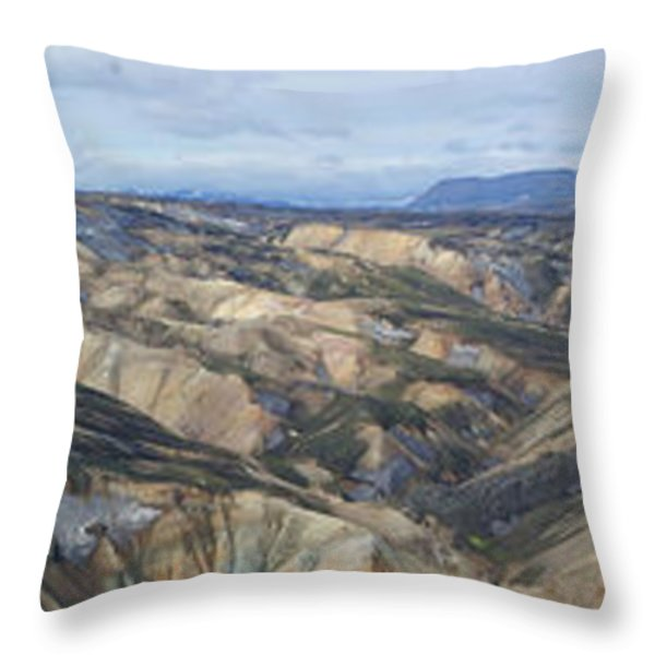Landmannalaugar Iceland Panorama 2 Throw Pillow by Rudi Prott
