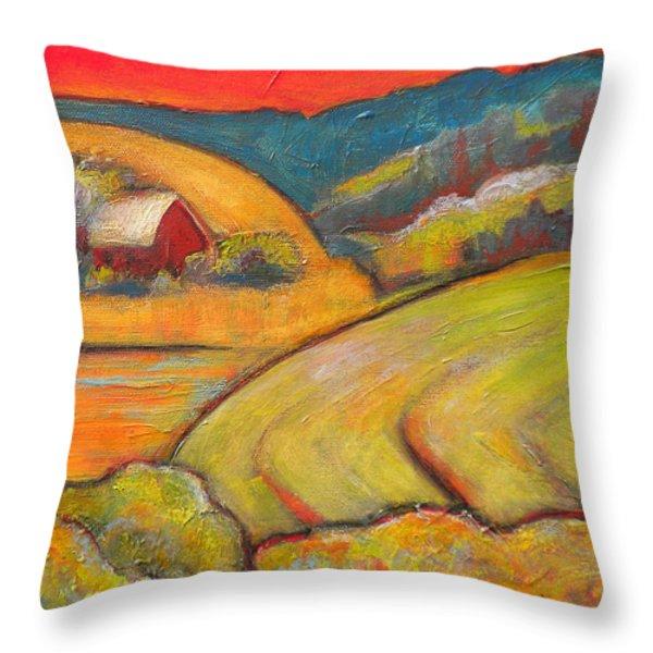Landscape Art Orange Sky Farm Throw Pillow by Blenda Studio