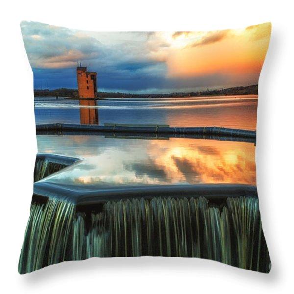 Landscape Strathclyde Park Weir  Throw Pillow by John Farnan