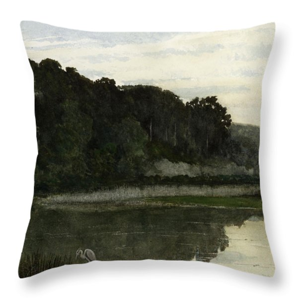 Landscape With Heron Throw Pillow by William Frederick Yeames