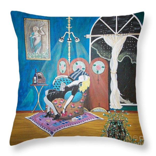 Languid Lady In A Chair Brooding Over Poetry Throw Pillow by John Lyes