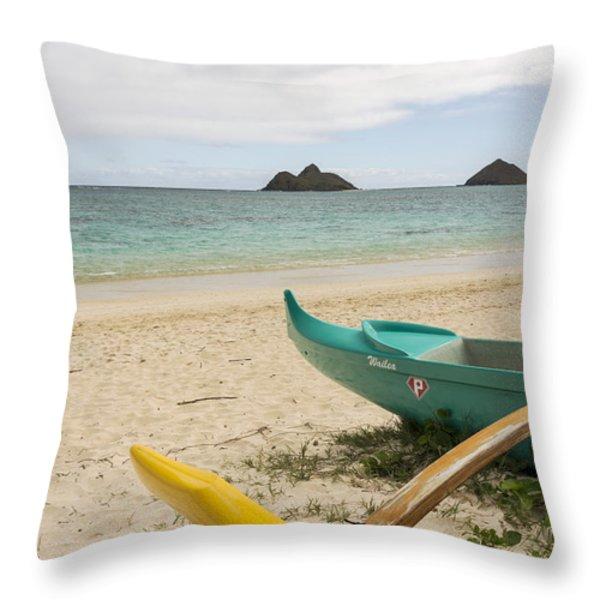 Lanikai Beach Outrigger 2 - Oahu Hawaii Throw Pillow by Brian Harig