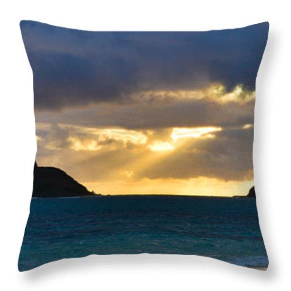 Lanikai Beach Sunrise Panorama 2 - Kailua Oahu Hawaii Throw Pillow by Brian Harig