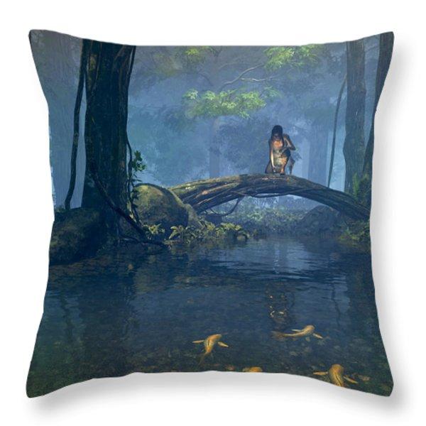 Lantern Bearer Throw Pillow by Cynthia Decker