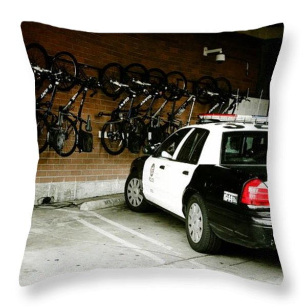 LAPD cruiser and police bikes Throw Pillow by Nina Prommer