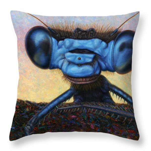 Large Damselfly Throw Pillow by James W Johnson