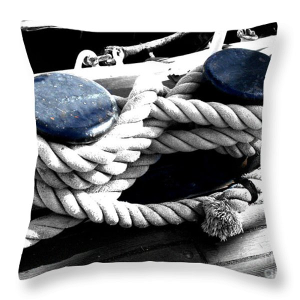 Large Dock Cleat Throw Pillow by Cheryl Young