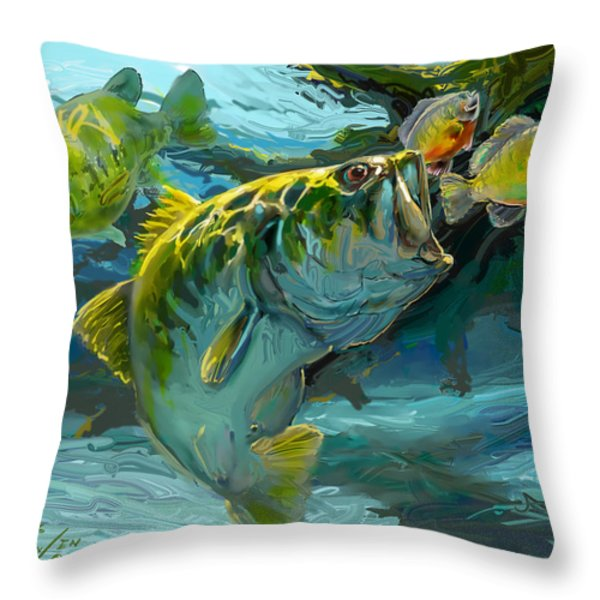 Large Mouth Bass and Blue Gills Throw Pillow by Savlen Art